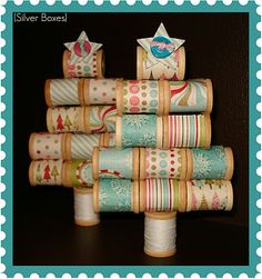 Spool Christmas Trees DIY ... http://stephssilverboxes.blogspot.com/2011/11/spool-christmas-trees.html#