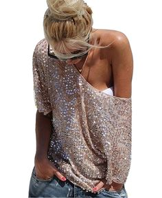 2017 Fashion Women Ladies Sexy Off Shoulder Sequin Top T Shirts Party Streetwear Summer Casual Loose Tees camiseta mujer blusas Look Fashion, Street Fashion, Fashion Beauty, Womens Fashion, China Fashion, Fashion Kids, Ladies Fashion, Daily Fashion, Fashion Boots