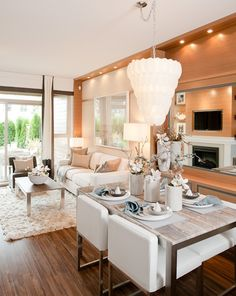 Elegant Living Room Combo with Dining Area