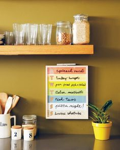 Plan your weekly dinner meals on a customizable dry-erase board from our contributor Lorena Siminovich of Petit Collage. Match the paper and frame to your kitchen for a seamless fit.