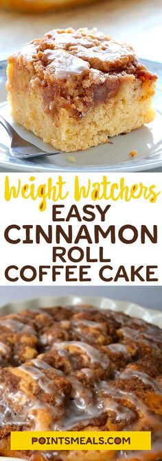 Easy Cinnamon Roll Coffee Cake #weight_watchers