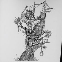 Miniature wacky treehouse
