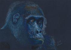 Gorilla by Geoff Fielding http://artdiscoveredonline.co.uk/art-gallery/gorilla-on-dark-blue/