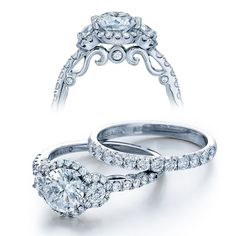Prepare your eyes for the luscious visual feast in this out of this world diamond engagement ring. A real head turner, this spotless piece features a very remarkable Brilliant-cut diamond as the focus. Dazzling Brilliant Round cut diamonds are pave set around it creating a halo design. The round diamonds continues down the superb open style shank to enthrall your eyes. Alluring side cutouts and detailed antique style hand etching creates a striking look that adds elegance and stature to this…