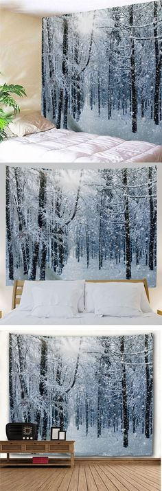 Wall Hanging Art Decor Snow Forest Print Tapestry