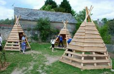 You will love to make this Pallet Teepee for the kids.  This will look brilliant in your yard and provide hours of fun! Try the Pallet Playhouse too!