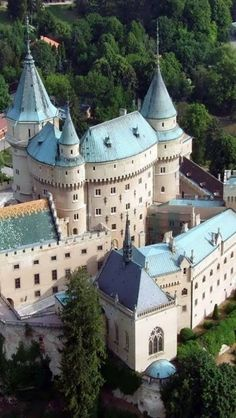 Blue and white castle that looks straight out of a story. Bojnice castle, Slovakia