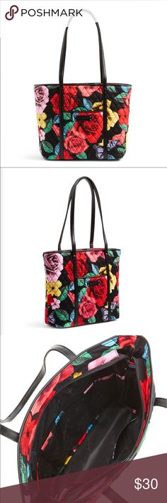 """NWOT! Vera Bradley Small Trimmed Tote This bag is gorgeous!!  Vera Bradley Small Trimmed Vera In """"Havana Rose"""". Everything you love about Vera's timeless tote and reinterpreted it in this must-have handbag. Featuring beautiful faux-leather trim, our newest namesake style offers six interior pockets just like the original, and zip top closure.   Recessed zip-top closure Inside, six large slip pockets Outside, one zip and one slip pocket  Machine washable on gentle. Cold water. Line Dry. Vera…"""