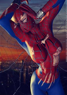 super-hero-center:  Spidergirl, Ripped N Torn by BlackSheepArt