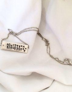 Hand-stamped Coordinate Bar Necklace by SamanthaButkus on Etsy