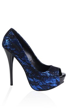 glitter pump with lace overlay
