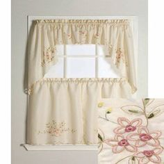 Kitchen curtains for sale Kitchen Curtains And Valances, Curtains Uk, Tier Curtains, Cafe Curtains, Curtains For Sale, White Curtains, Sunflower Kitchen, Floral Embroidery Patterns, Cheap Kitchen
