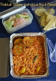Travel Lunch Idea7 - Tomato Rice , Vazhakkai Fry , Chips and Sago Vadam