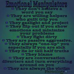 Emotional Manipulators Verbal Abuse, Emotional Abuse, Emotional Manipulators, Emotional Blackmail, Manipulation Quotes, Manipulative People, Guilt Trips, Narcissistic Sociopath, Passive Aggressive
