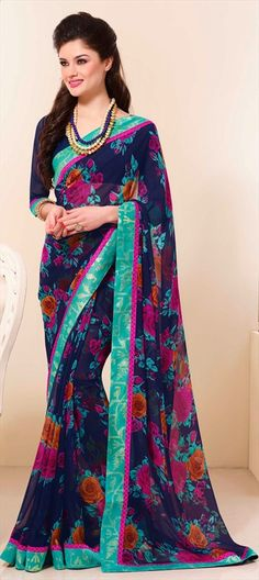 145966, Printed Sarees, Faux Georgette, Lace, Printed, Floral, Blue Color Family