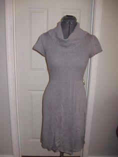 Calvin Klein Gray Cowl Neck Short Sleeve Sweater Dress M #CalvinKlein #SweaterDress #Casual