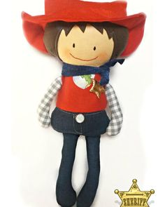 I've just finished this guy. He is a cute cowboy. Dolls And Daydreams, Western Cowboy, Sheriff, Fabric Dolls, Sewing For Kids, Handmade Toys, Smurfs, Westerns, Doll Clothes