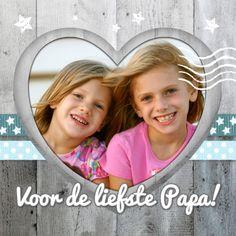 Vervang de foto door een eigen plaatje en maak zo in een handomdraai deze lieve en persoonlijke kaart. Te vinden op: https://www.kaartje2go.nl/vaderdag-kaarten/vaderdagkaart-hart-hout-lintjes