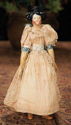 German Paper Mache Doll with Sculpted Beehive Coiffure 300/500 Auctions Online   Proxibid
