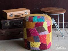 POEF (Y16142) -- Aangeboden door yooors.nl ---- Geweldige opvallende gekleurde poef. Gemaakt van verschillende stukken gerecyclede stof.