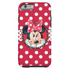 Minnie Polka Dot Frame Tough iPhone 6 Cases are so cute! Love the red with with #polkadots design. #Disney