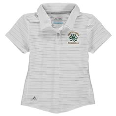 adidas Golf Girls Youth 2017 U.S. Open Cotton Hand Stripe climacool Polo - White