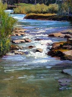 Study for River Lights by Mary Lou Epperson Oil ~ 12 x 9 Waterfall Paintings, Seascape Paintings, Watercolor Paintings, Watercolor Artists, Indian Paintings, Oil Paintings, Painting Art, Fantasy Landscape, Landscape Art