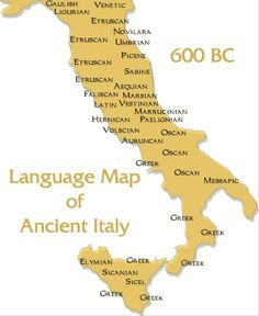 Language Map of Ancient Italy  Have a look at our website: www.italiaamicamia.com  Follow us on facebook: facebook.com/italiaamicamia
