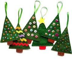 Bugs and Fishes by Lupin: How To: Felt Christmas Tree Ornaments - FREE PATTERN for these and other Christmas ornaments. Christmas Sewing, Christmas Crafts For Kids, Christmas Projects, Christmas Fun, Holiday Crafts, Handmade Christmas, Felt Christmas Decorations, Felt Christmas Ornaments, Tree Decorations