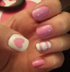 Lovely-Heart-And-Strips-Pink-Nail-Design Pretty Pink Nail Art Designs Pink White Nails, Pink Nail Art, Pink Nails, Matte Nails, Pink Glitter, Striped Nails, Nail Art Blanc, Valentine Nail Art, Semi Permanente