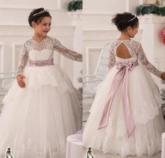 Vintage 2015 Flower Girls' Dresses with Sheer Lace Long Sleeves For Weddings Ivory and Blush Sash Heart Backless Prom Ball Communion Gowns