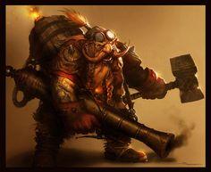 m Dwarf Fighter Hammer Flame Thrower