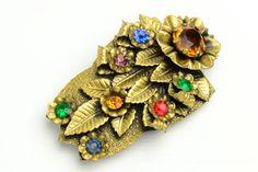 Bohemian Art Deco Foliate Czech Glass Brooch - brought to you by VintageCravens