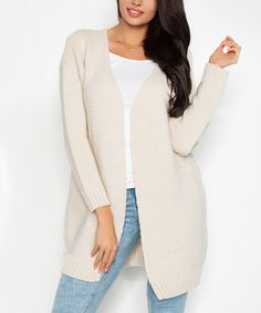 Another great find on #zulily! Beige Knit Long Open Cardigan #zulilyfinds