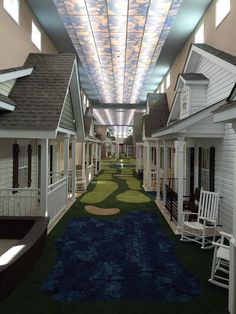 Assisted Living Facility Realistically Designed to Look Like Cute Neighborhood Street. This Ohio-based assisted living facility is artfully enabling its residents to relive their warm, youthful memories via its creative interior design. With three locations in Madison, South Russell, and Saybrook, The Lantern lays out its indoor centers to appear like the cozy neighborhoods of the 1940's, with its hall carpets. #assistedliving #babyboomers