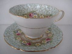 Vintage Paragon Pretty China Cabinet Tea Cup Saucer Floral Damask Rose Blue
