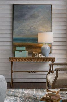 beautiful coastal decor with hand-crafted cloud blue ceramic lamp on the carved console; Coastal Curtains, Coastal Rugs, Coastal Bedding, Coastal Living Rooms, Coastal Style, Coastal Decor, Coastal Cottage, Coastal Lighting, Modern Coastal