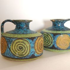 Vintage Italian pottery jugs in green and turquoise by stephieD, $15.00