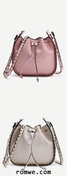Studded Design Drawstring PU Shoulder Bag