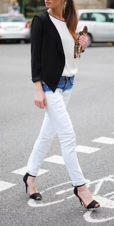 Style Bloggers: Denim Outfit Of The Day two-tone jeans, zara heels, https://denimology.com
