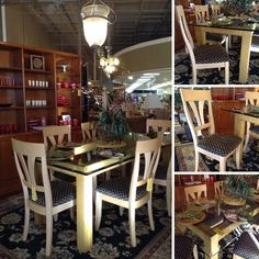 Table & Chairs - Pedestal Table w/ Glass Top $407.95 Blonde Wooden Chairs w/ Black/Gold Seat $83.95ea.