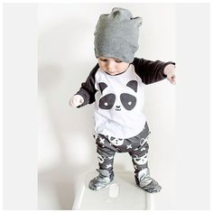 Cool 2017 Autumn New Baby Boy Clothes Long-sleeved Cartoon Panda T shirt+Pants 2 Pcs Newborn Clothes Baby Girl Clothing Set - $19.89 - Buy it Now!
