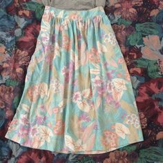"""Modcloth vintage Hawaiian midi summer skirt S Lovely lightweight cotton midi skirt featuring the prettiest shades of pastel Hawaiian florals. From modcloth vintage section. Size S or small M depending on how high waisted you like it. 27"""" waist. Soooooo pretty! For lovers of  Japanese  Lolita  vintage  dolly kei ModCloth Skirts"""