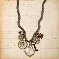 Key and glass necklace