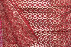 Red Poly Jacquard Fabric Geometrical Brocade By The Yard