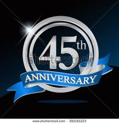 45th anniversary logo with blue ribbon. 45 years anniversary signs illustration. Silver anniversary logo with blue ribbon ring. - stock vector