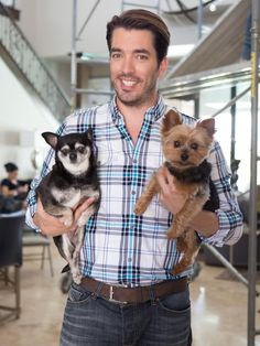 Jonathan Scott Holding Dogs Host Jonathan Scott with his dogs amidst of the scaffolding in his living room.