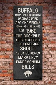 """Buffalo Bills Vintage Subway Art - 40"""" x 16"""" Not that it fits my taste in home decor...  """" ❤ It feels like home to me! """""""