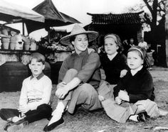 Ingrid Bergman with her children Roberto, Isotta and Isabella on the set of The Inn of the Sixth Happiness. June, 1958