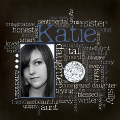 love the graphic look of this - cool idea, using words instead of pictures to describe someone...
